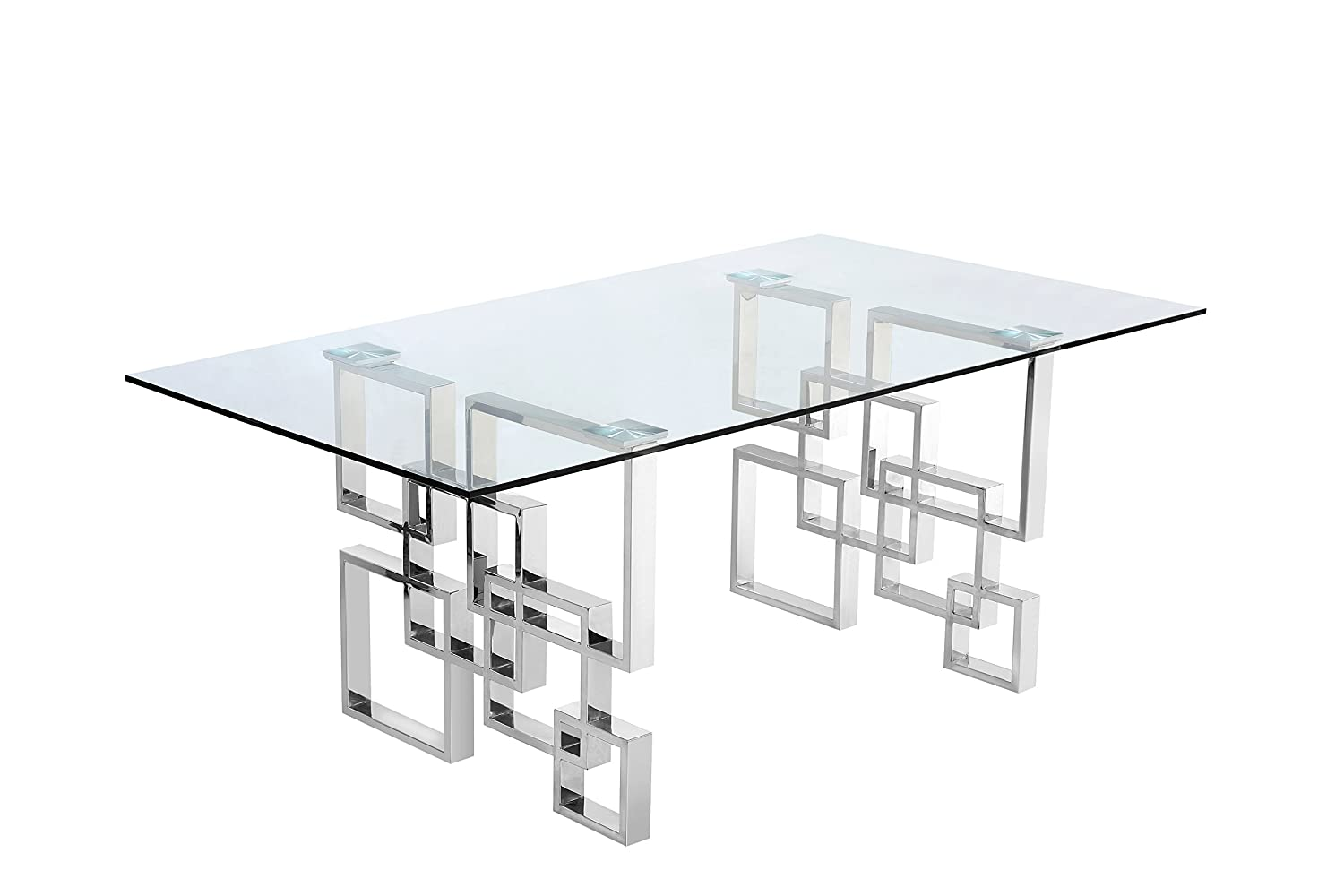 """Meridian Furniture 731 T Alexis Contemporary Style 78"""" Rectangular Dining Room Table With Rich Chrome Stainless Steel Geometric Base And Glass Top, Chrome by Meridian Furniture"""