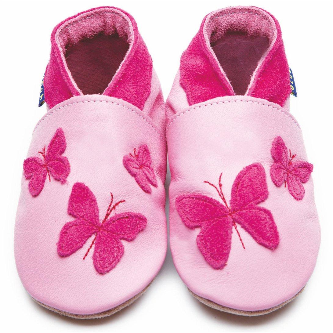 Zapatos Inch Blue de cuero blando rosa con mariposa, 6-12 meses: Amazon.es: Bebé