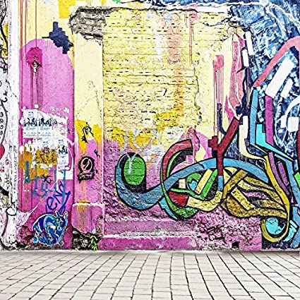Yeele 3x5ft Graffiti Backdrops Modern Graffiti Wall Brown Ground Band Colorful Wall Stone Brick Floor Photography Background Pictures Baby Adult