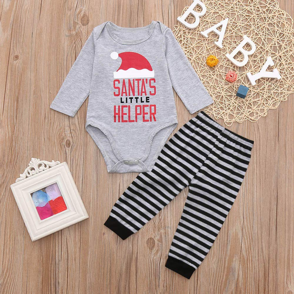 Iuhan 3-24M Unisex Baby Clothing Set Christmas Santa Letter Romper Pants Outfit Set