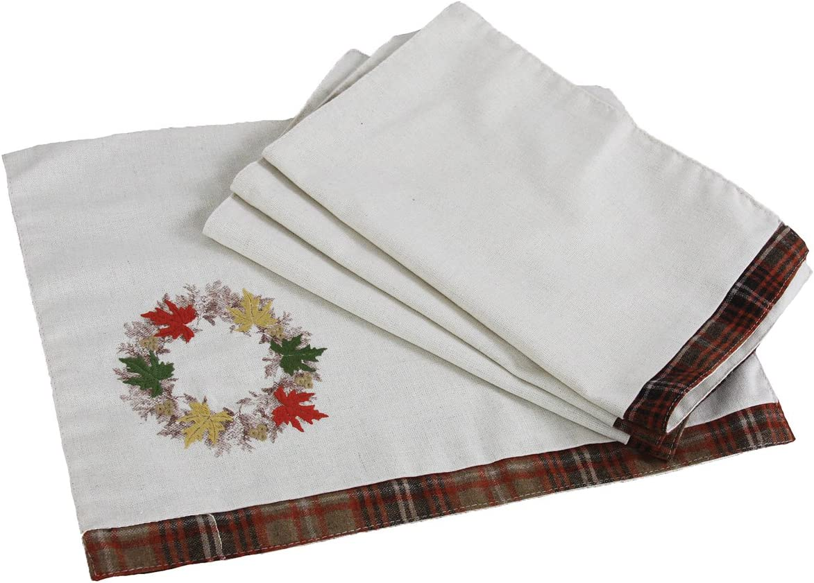 """Xia Home Fashions Maple Wreath Fall Placemats, 13 by 18"""", Set of 4"""