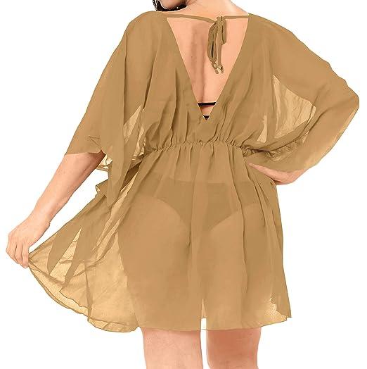 c96e61d1bb3 LA LEELA Kimono Cover up Plus Bathing Suit Plus Beige I761 OSFM 8-16W  M