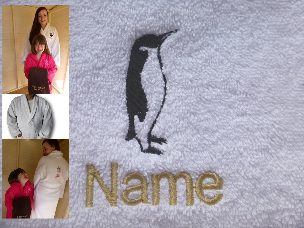 Adult Bath Robe with a PENGUIN Logo and Name of your choice in White, Size Medium, Large, XLarge or XXLarge (Large)