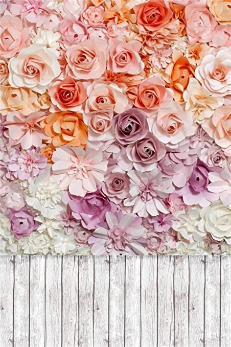 leowefowa 3x5ft bridal shower backdrop blooming fresh rose flowers backdrops for photography shabby stripes wood floor