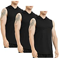 Lacenicole Men's Workout Hooded Tank Tops Workout Athletic Muscle Tank with Hoods Pack of 3