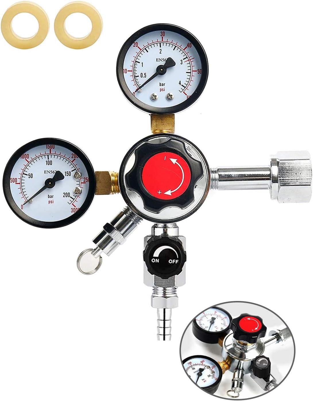 KECOP Dual Gauge CO2 Draft Beer Regulator Dual Stage Pressure Regulator CGA-320 CO2 Tank Beer Kegerator Regulator with Relief Valve Beer Keg Pressure Regulator for Homebrew 0-60 PSI Working Pressure