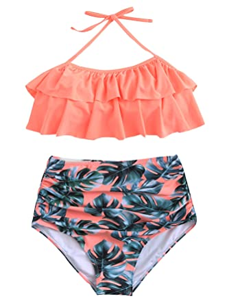 1f44ccc9a1a SOLYHUX Women s Ruffle Halter Top with Ruched Bottom 2pcs Bikini Set  Apricot S