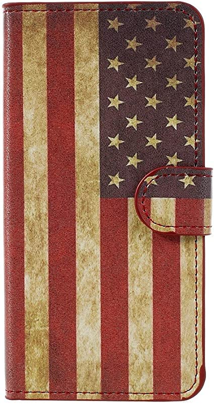 compatibile per HUAWEI P8 LITE 2017 PRA-LA1; PRA-LX2; PRA-LX1; PRA-LX3 / P9 LITE 2017 (5.2) Custodia COVER CASE FLIP LIBRO STAND USA AMERICA FLAG ...