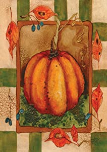 Toland Home Garden Crackled Pumpkin 12.5 x 18 Inch Decorative Americana Fall Autumn Leaves Garden Flag