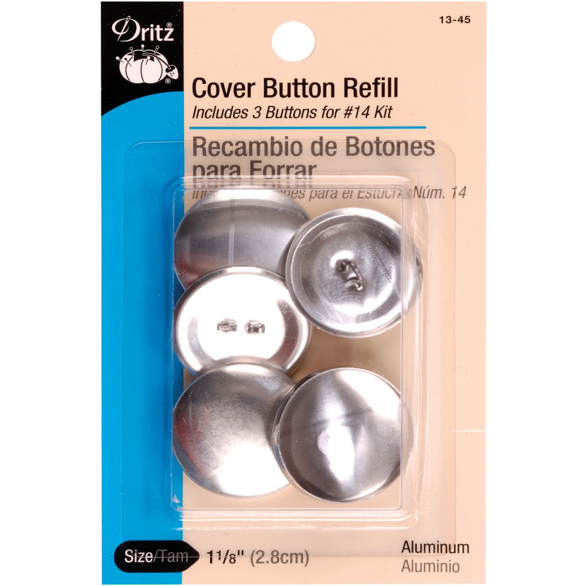 Dritz 13-45 Cover Button Refill - For # 14 Kits, Size 45, 3 Count Size 45