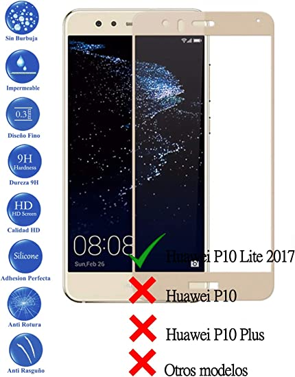 Todotumovil Protector de Pantalla Huawei P10 Lite Dorado Completo ...