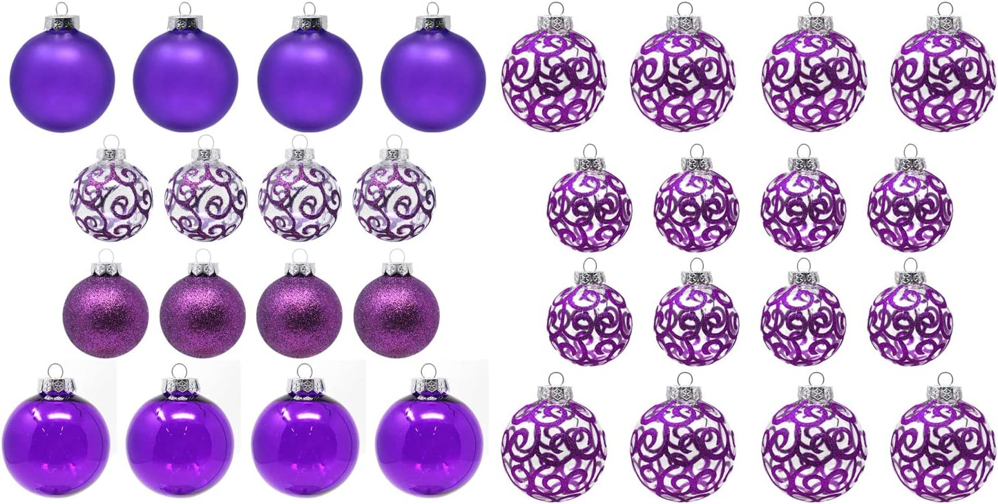 Sleetly Purple Christmas Ornaments Bundle Pack of 32