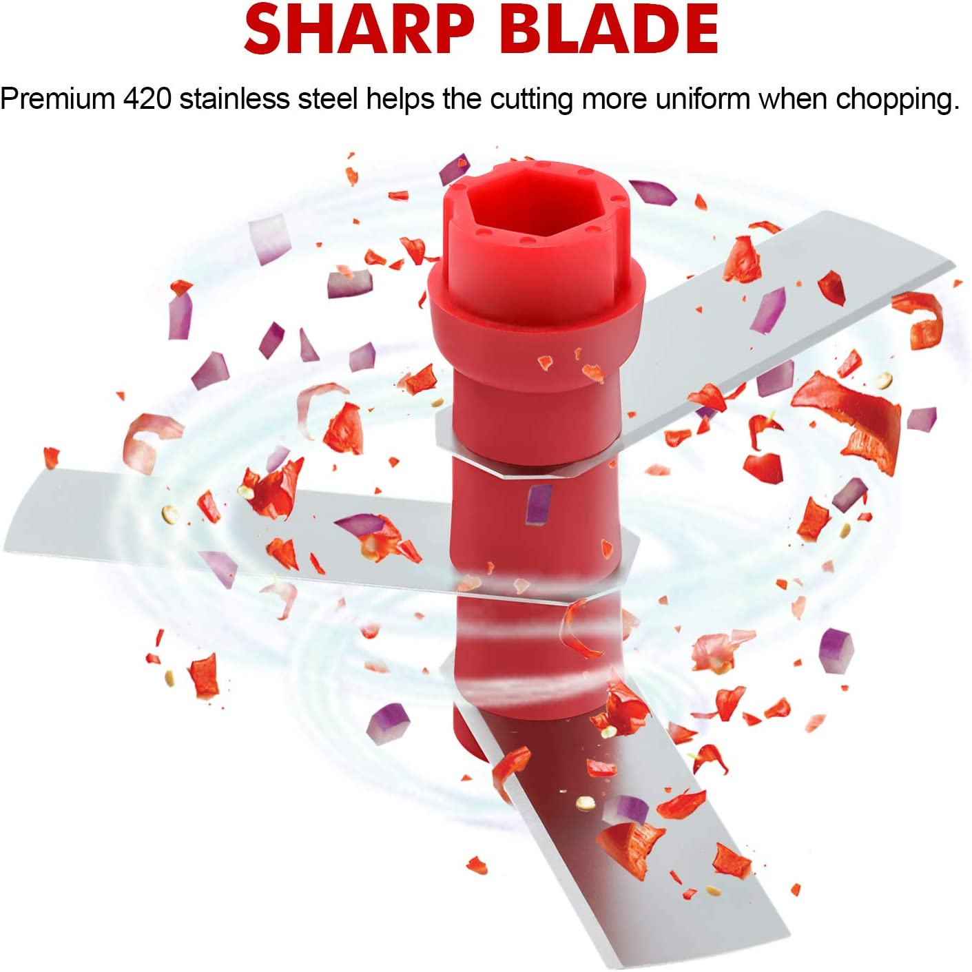 Manual Pull Food Chopper, Hand Pull String Onion Chopper Dicer for Kitchen, Easy Cleaning Manual Vegetable Chopper for Vegetables, Fruits (500 ML) Red