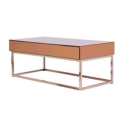 Amazon Com Barnes Mirrored Coffee Table Bronze Electroplated