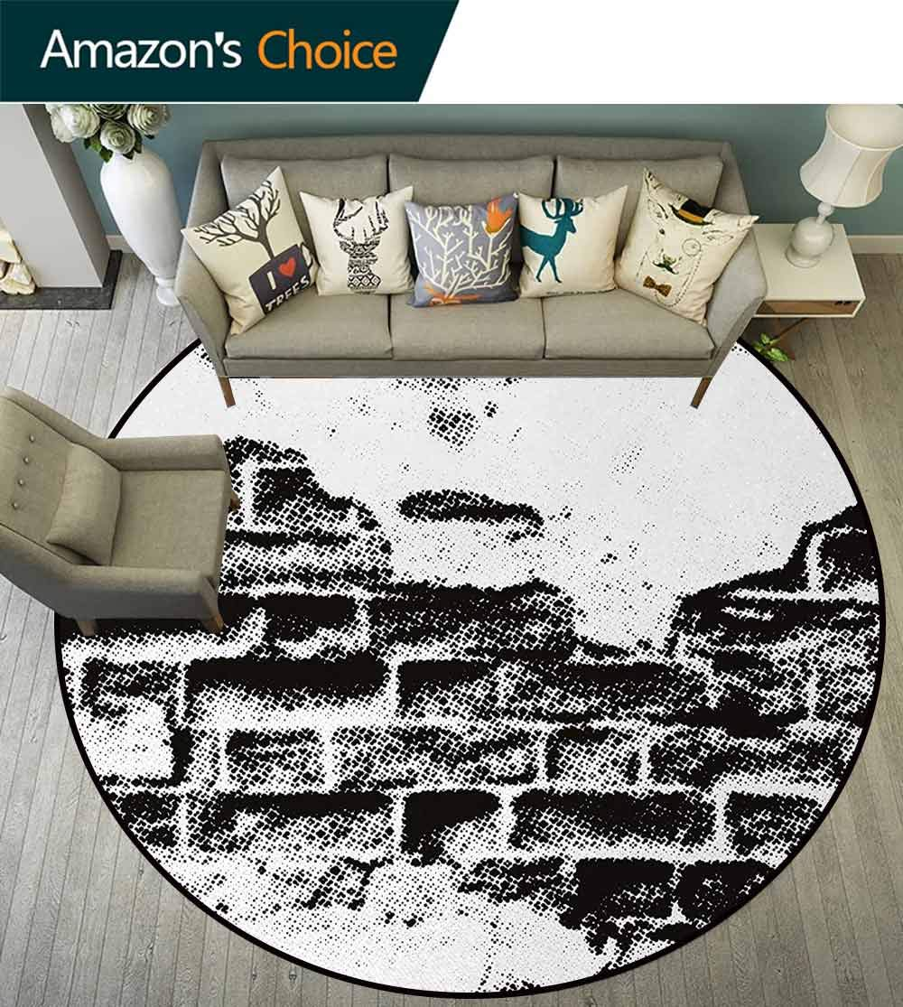 Black And White Art Deco Pattern Non-Slip Washable Round Area Rug,Grunge Wall Texture Halftone Effect Brickwork Retro Poster Style Image Foam Mat Living Room Decor Diameter-51 Inch,Black And White by DESPKON-HOME