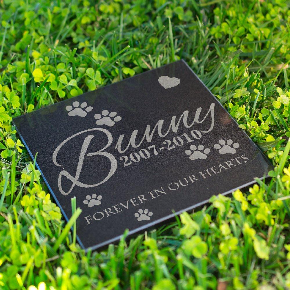 Lara Laser Works Personalized Dog Memorial Customized Dog Grave Marker Custom Headstone - DSG#8 - Aged Granite by Lara Laser Works