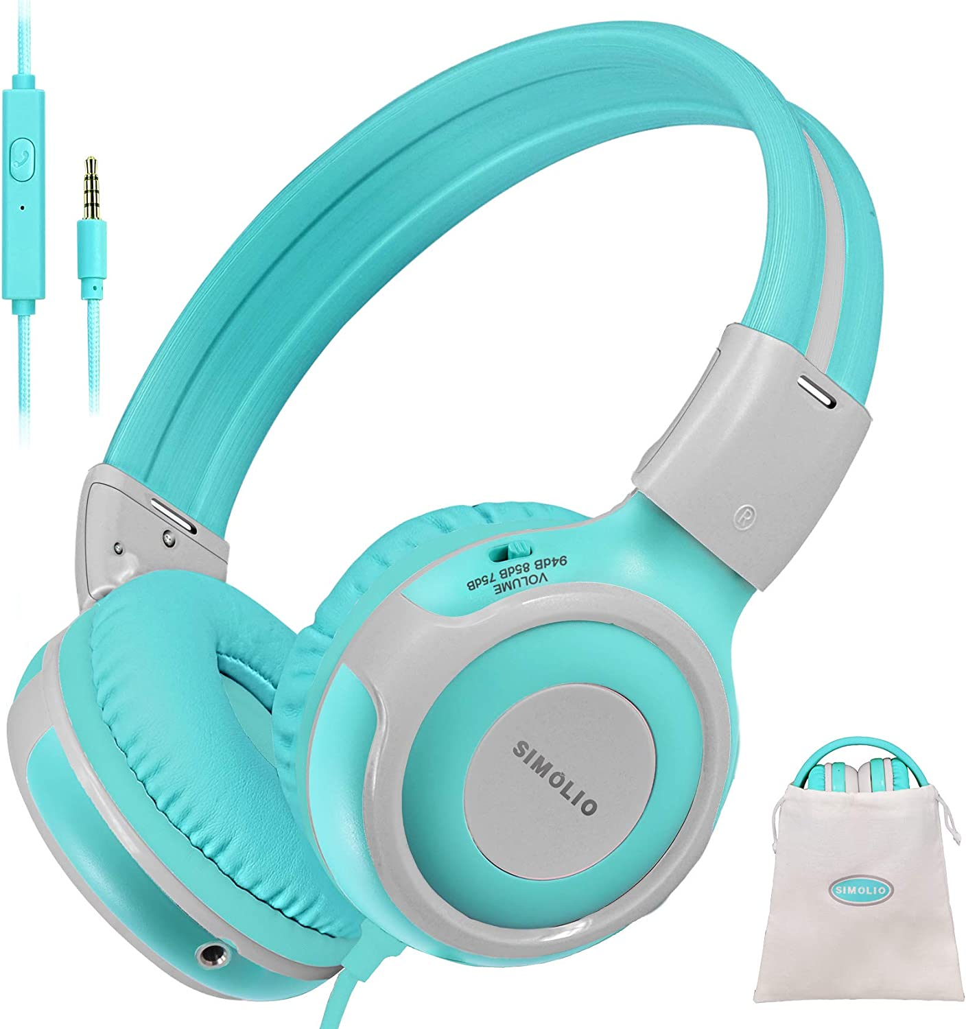 SIMOLIO Durable Kids Headphone with Microphone & Volume Control, Safe 75dB,85dB,94dB Volume Limit, Audio Share Function Child Headphone with 3.5mm Plug for Girls/Boys/Tablet/iPad/Laptop, (SM-903G)