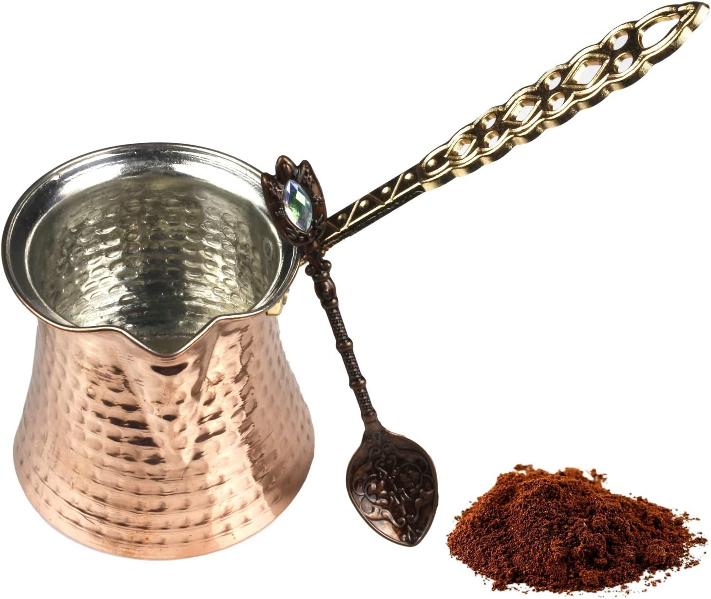 Turkish Coffee Pot and Copper Spoon Set - 9 Oz Thick 2mm Antique Copper Looking - Stove top Coffee Maker Cezve with Copper Handle & Copper Spoon - for 3 People