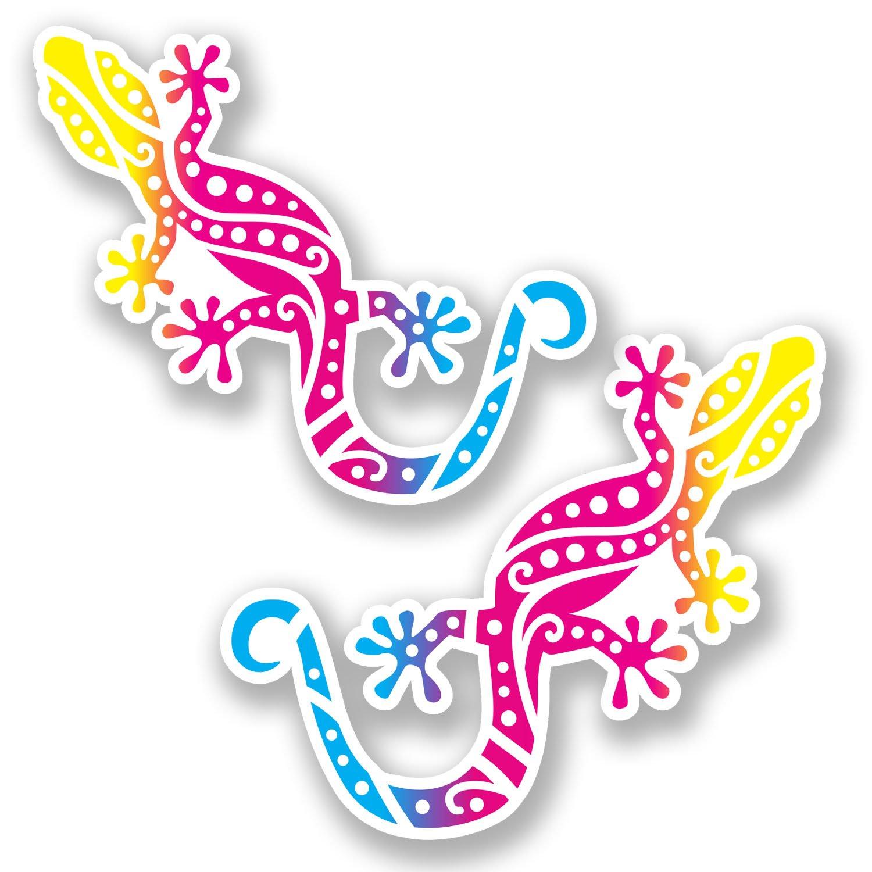 2 x 10cm Gekko Lizard Vinyl Sticker Laptop Helmet Gecko Kids Skate Gift #6591