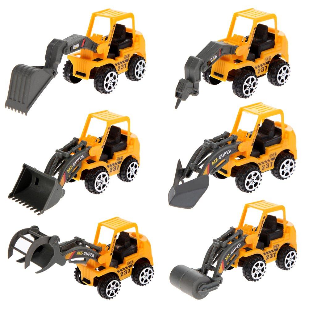 Greensun TM 6pcsミニ車おもちゃVehicleセットConstructionブルドーザー掘削エンジニアリング車両ベビーキッズ教育玩具誕生日ギフト   B07DP7VXM8