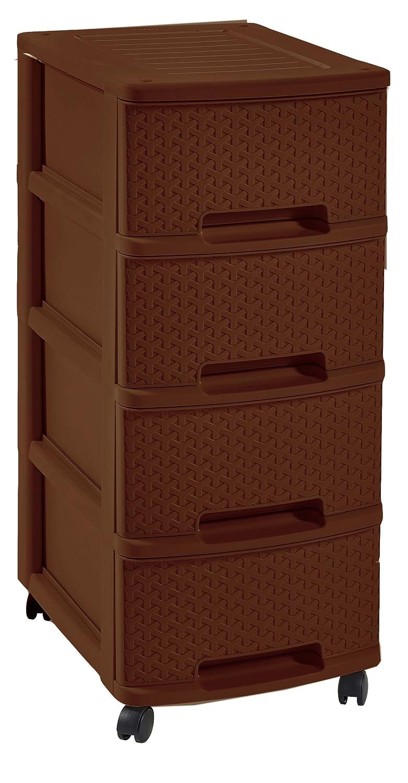 CURVER My Style Regal, Dunkelbraun, 4 – Schublade Schublade Weidenkorb Kommode