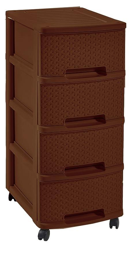 Curver - Cajonera MyStyle 4 Cajones con Ruedas - Color Marrón Chocolate