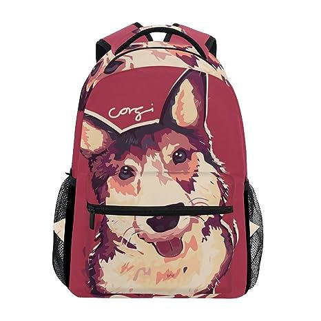 COOSUN Perro del Corgi Pintura Casual Mochila Mochila Escolar bolsa de viaje Multicolor