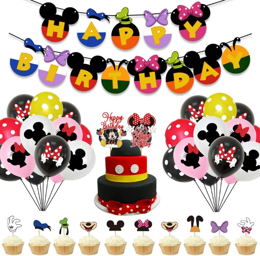 Decoraciones de cumpleaños de Mickey Mouse - WENTS 57PCS Banner de Happy Birthday adorno de pastel Globos de lunares para la fiesta temática de Mickey Mouse