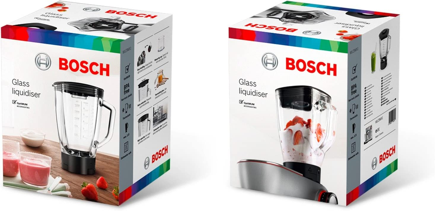 Bosch MUZ9MX1 - Vaso de batidora de vidrio, accesorio para robots de cocina OptiMUM, 2.3 litros, transparente y negro: Amazon.es: Hogar