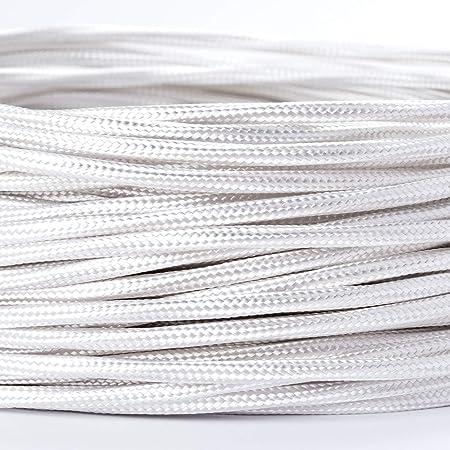 Textilkabel-Stoffkabel weiss 3-adrig 3x0,75 extra dünn für Kronleuchter Lüster
