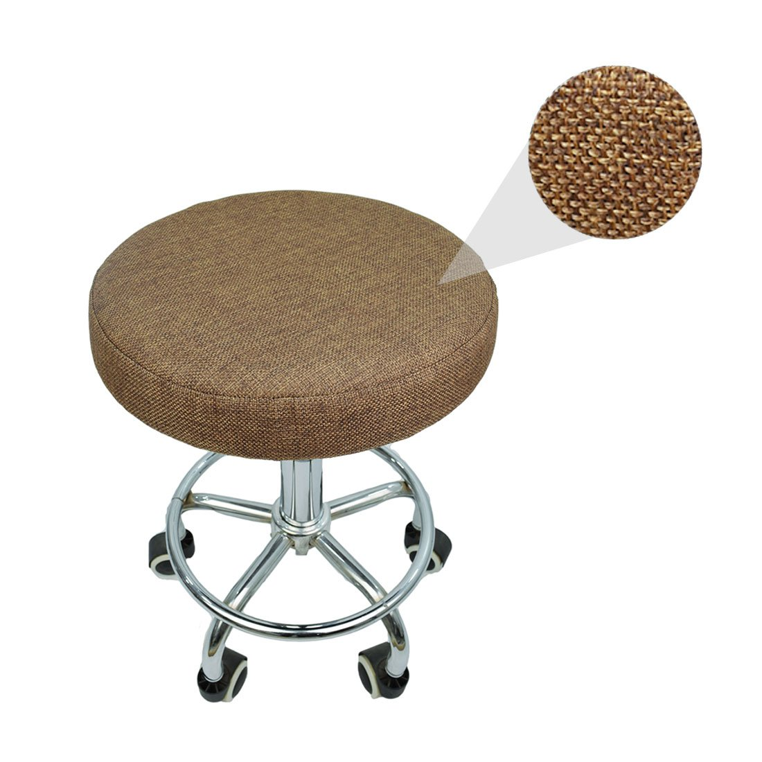 Rosavida 16 Inch Round Stool Cover en Linen with Elastic Anti-slip Round Seat Covers Protectors for Barstool #1