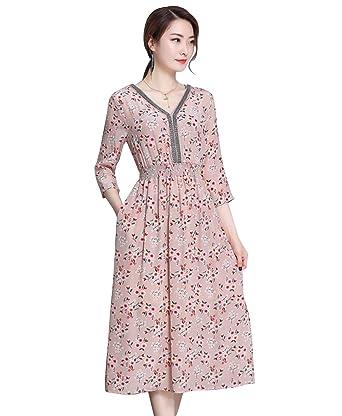8d9db9f45d12fd LAI MENG Damen Elegant 3 4 arm Boho Sommerkleid aus Chiffon mit Blumenmuster  A-