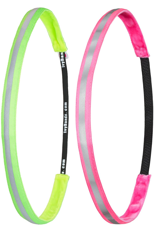 Ivybands® | Fascia per capelli antiscivolo | Confezione da 2 | Diversi design, Grün Rosa Pink Reflektierend IVY GmbH Official IVY011732