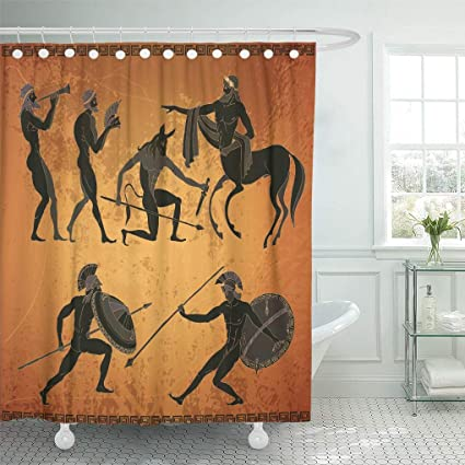 Amazon com: OPkvmm Decorative Shower Curtain Ancient Greece Scene