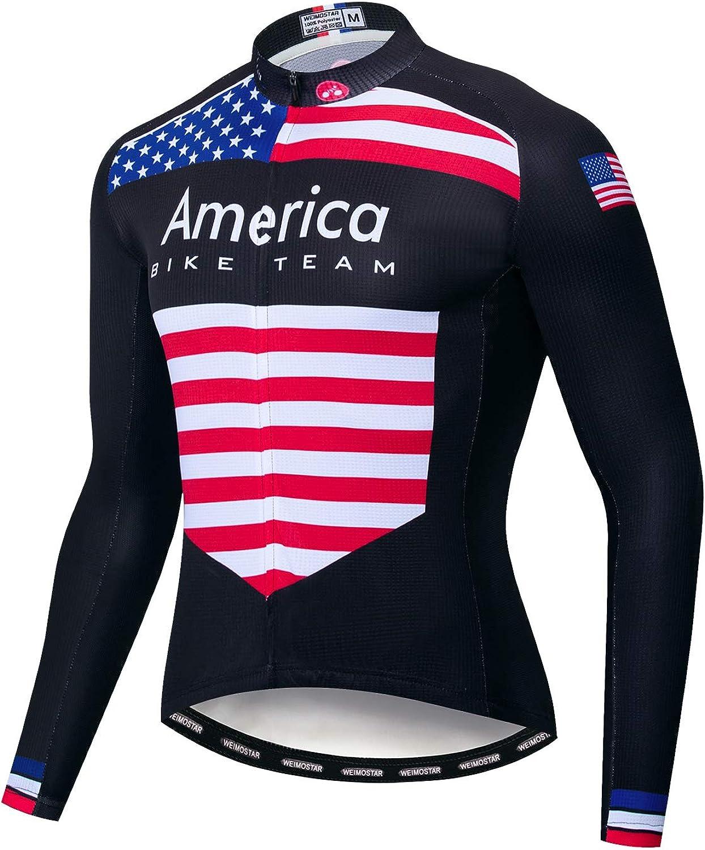 Mens Long Sleeve Thermal Cycling Jersey Zipper Biking Top Outdoor Sports Shirt