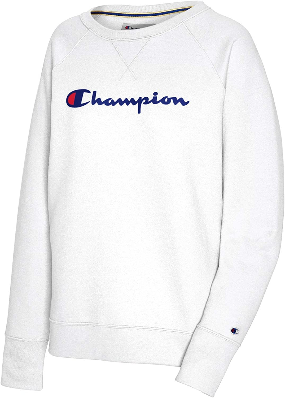 Champion Women's Powerblend Graphic Boyfriend Crew at  Women's Clothing store