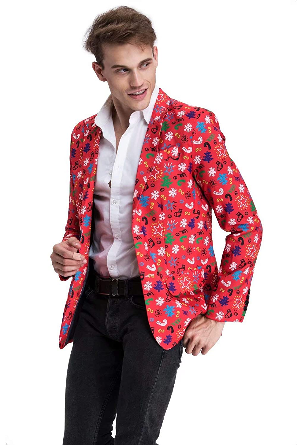 YOU LOOK UGLY TODAY Men's Christmas Party Blazer Funny Novelty Xmas Party Suit Jacket Costumes