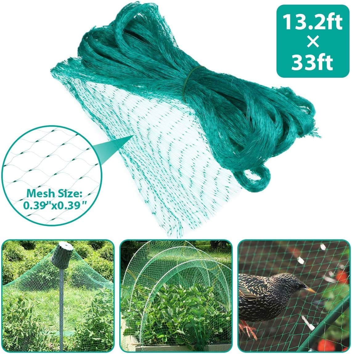 Tvird Green Anti-Bird Netting,Garden Plant Net,13.2Feet x 33Feet Fruit Trees Netting,Reusable, Washed Plant Protection Net to Protect Plants and Fruit Trees from Birds and Wildlife