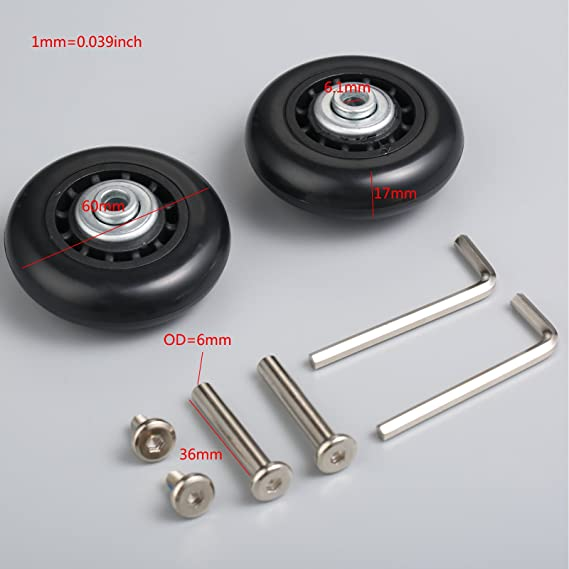 Juego de 2 ruedas de maleta (60 x 18 mm) de repuesto, con ejes, rodamientos y llaves: Amazon.es: Deportes y aire libre