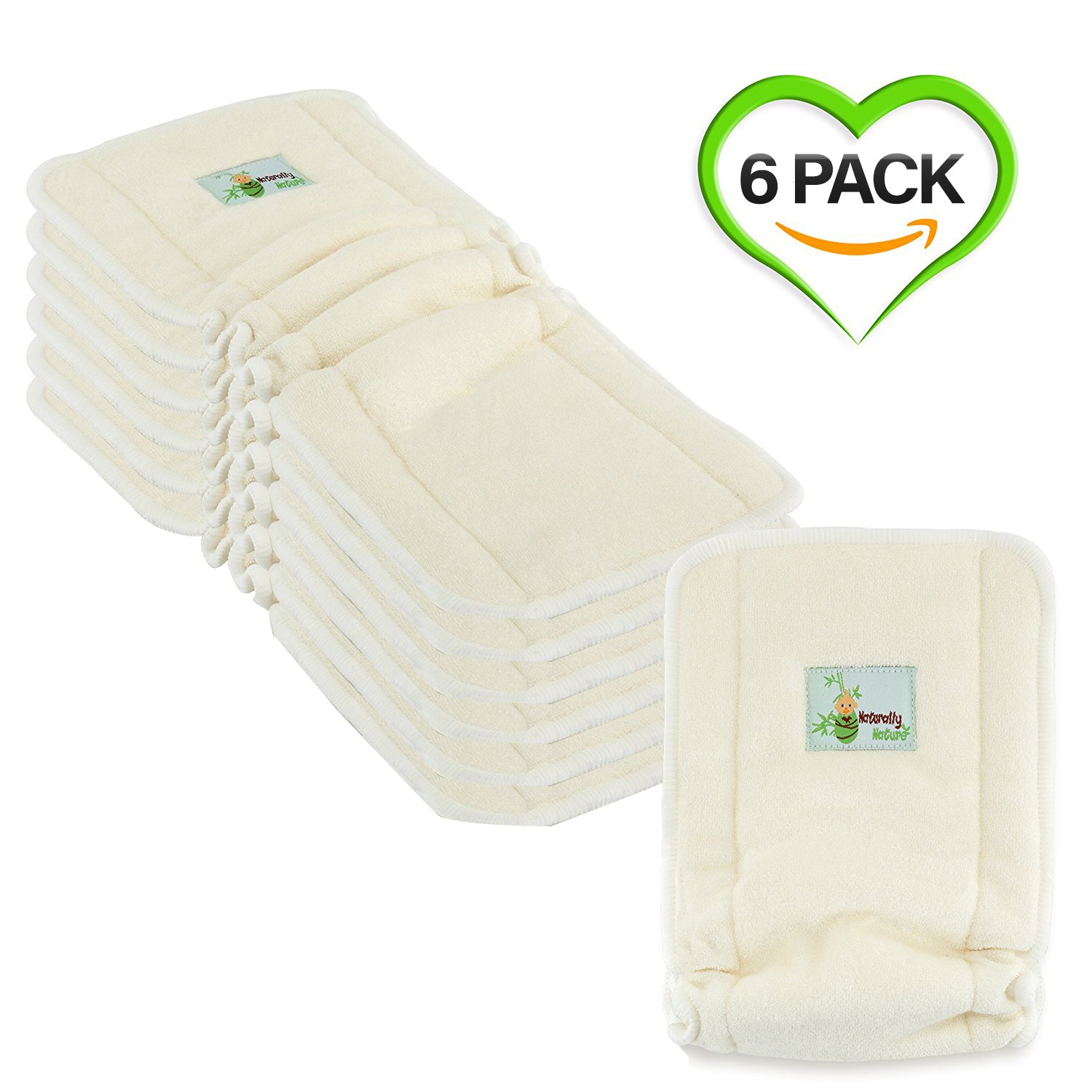 Naturally Natures 4 Layer Cloth Diaper - Inserts - with Gussetts Bamboo Reusable Liners for Cloth Diapers (Pack of 6)