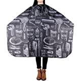 UNHO Hairdressing Capes and Gowns, Black Hair Cutting Cape Waterproof Barber Cape Hairdresser Apron Anti-static Dyeing Salon for Hair Styling ng Cape Professional Salon Cape Gown Waterproof Barber Cape Apron with Snap Closure 10.24 x 7.09 x 0.20 Inch