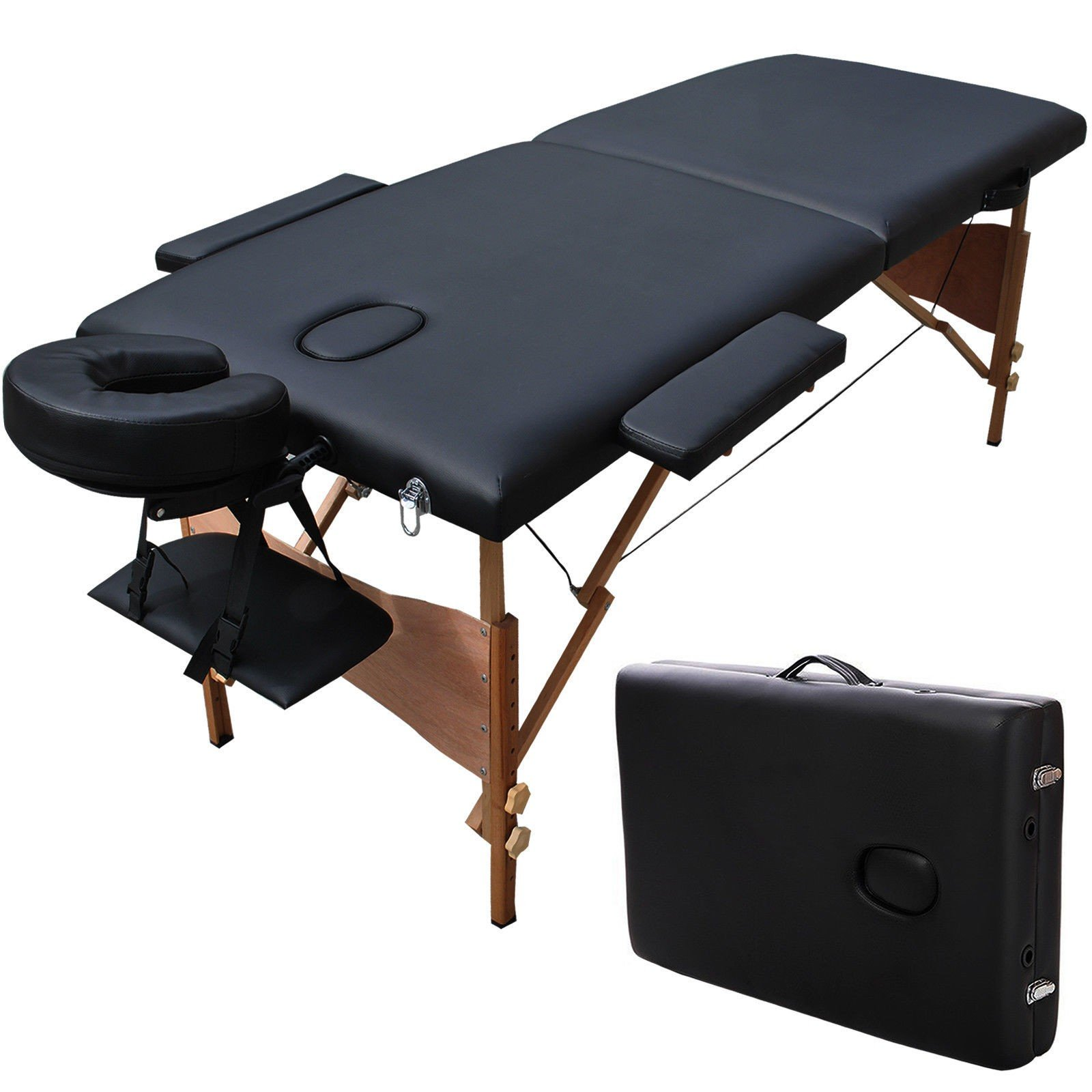 84'L Professional Portable Wood Massage Table Bed for Salon/Beauty/Physiotherapy/SPA/Tattoo(2 Section, Black)