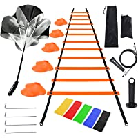 Litviz Agility Ladder Speed Training Equipment,Includes 12 Rung Agility Ladder,10 Disc Cones, Jump Rope, Resistance…