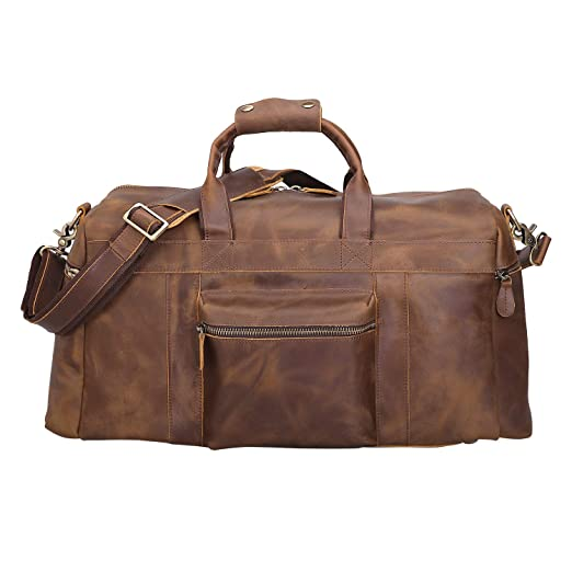 cad7bdb17905 Texbo Men's Thick Full Grain Cowhide Leather Vintage Big Travel Duffle  Luggage Bag 23