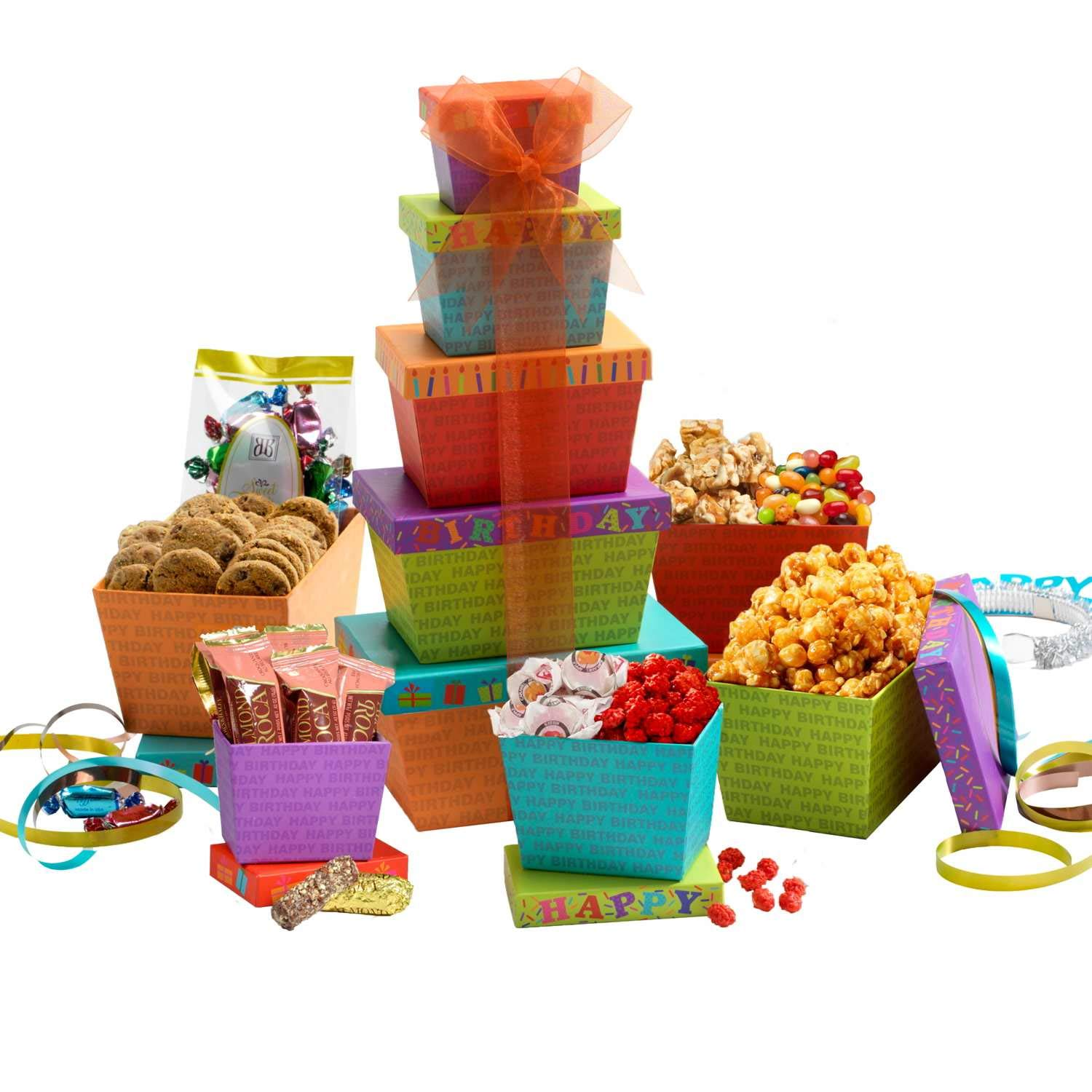 Broadway Basketeers Gift Tower, Happy Birthday Celebration by Broadway Basketeers