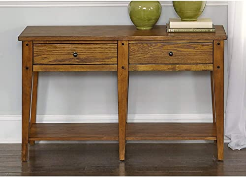 Signature Design by Ashley – Oslember Console Sofa Table – Farmhouse Style – 4 Woven Baskets – Brown