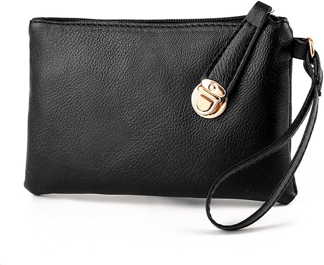 Luckywe Women Black Soft Wallet Tote Bag Pu Leather Handbag Purse Bags