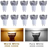 10pcs Pack Dimmable 110V 4W GU10 LED Bulbs - 6000K Daylight Spotlight - 330 Lumen, 40Watt Equivalent - 45 Degree Beam Angle