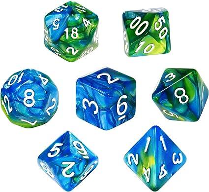 7X Two Color Dice Die d20 d12 d10 d8 d6 d4 for RPG Roleplay Toy Black White