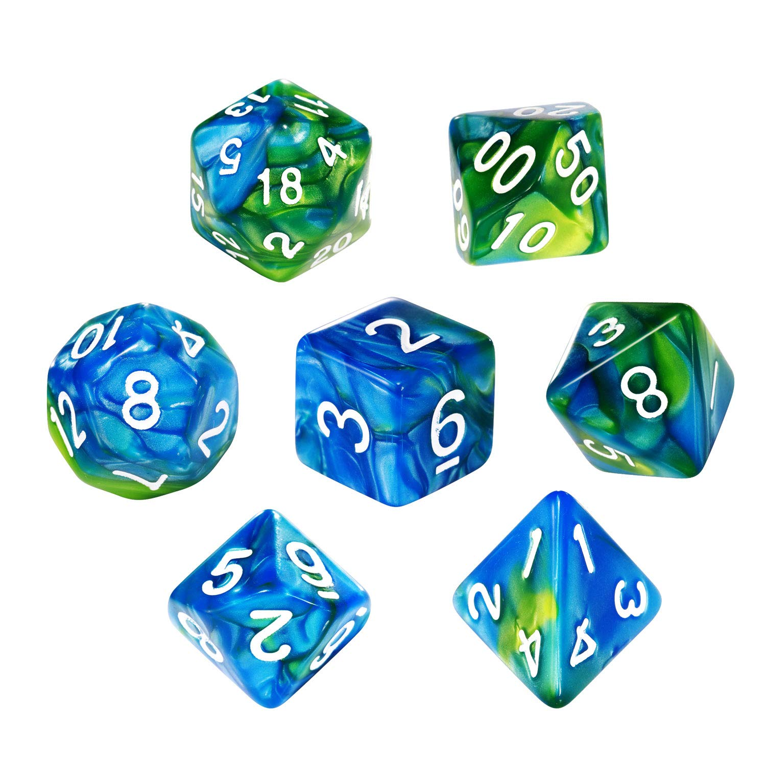 Double-Color Dice Polyhedral Dice Set Blue Green Dungeons and Dragons Dice Set for D/&D Dice Games RPG MTG Table Games with Drawstring Pouch CiaraQ DND Dice Set